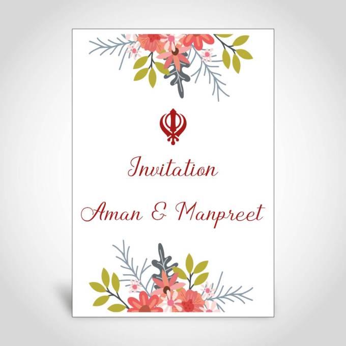 Floral Sikh Wedding Card – CFS171