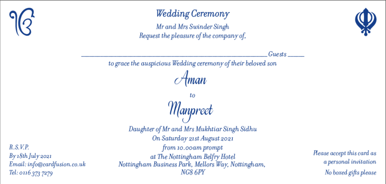 Sikh Wedding Invitation Wordings CardFusion