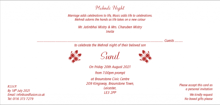 Wording for Mehndi Invitation - Wordings and Templates CardFusion