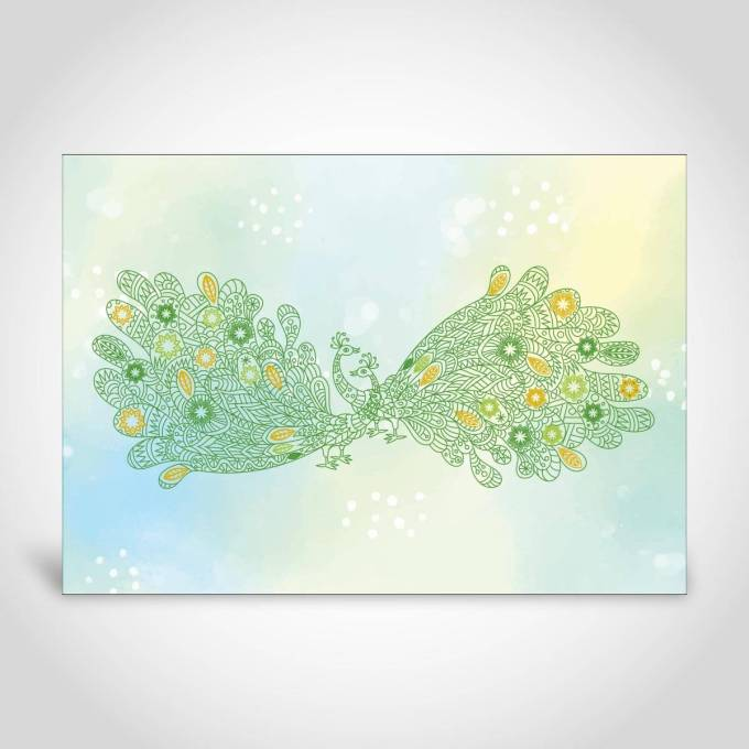 Green Peacock Watercolour Wedding Invitaiton Card – CF202