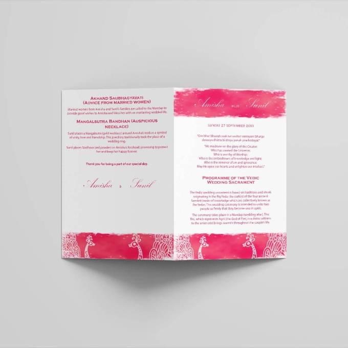 Hindu Wedding Ceremony Program – Peacock Theme – Booklet