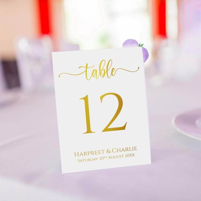 Wedding Table Numbers – Gold Foiled – 1