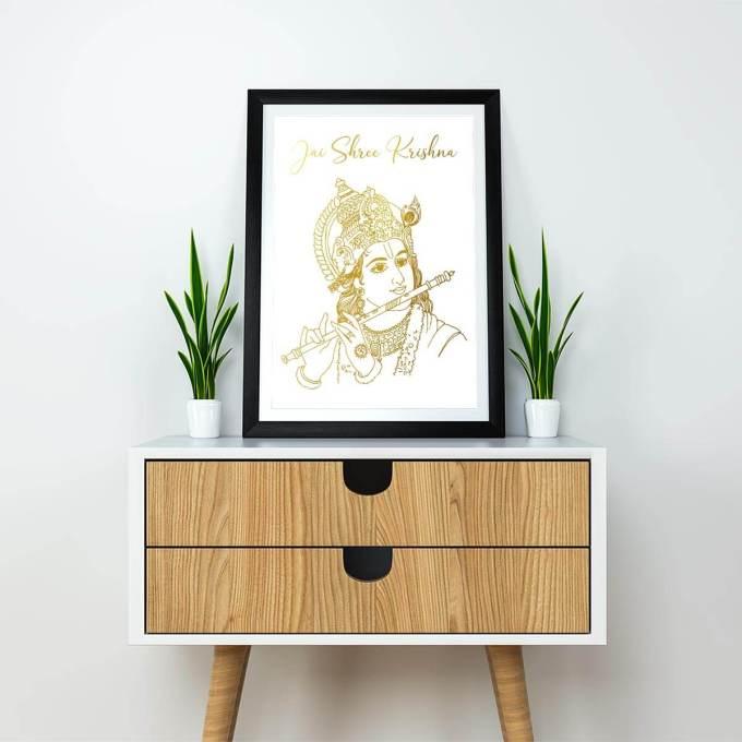 Krishna Wall Art with Jai Shree Krishna, Gold Foiled 1