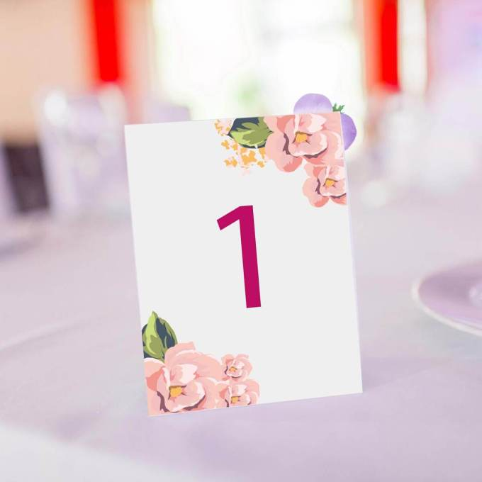 Floral Wedding Table Number – 5