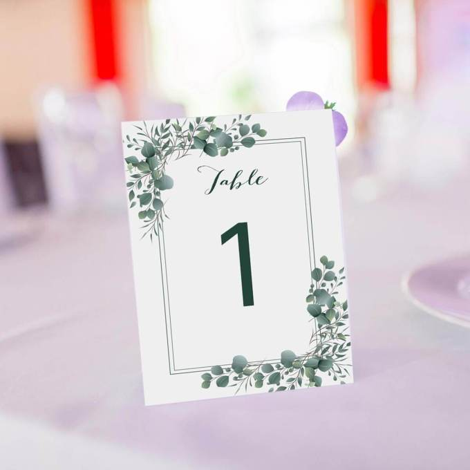 Eucalyptus Theme Wedding Table Number – 10
