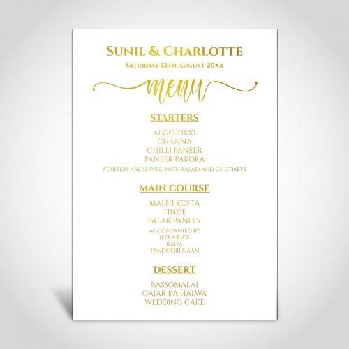 Elegant Wedding Menu CardFusion