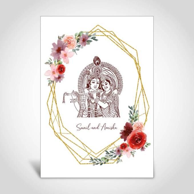 Radha Krishna Indian Wedding Card CFK193