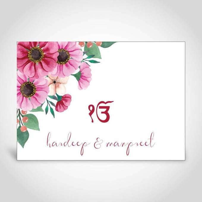 Sikh Floral Indian Wedding Invite – CFS199
