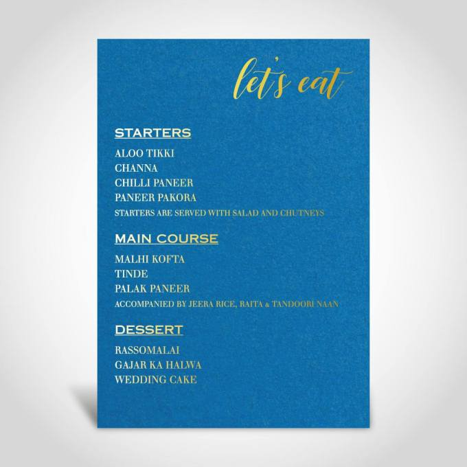 Menu Card | Evening Reception Party – Gold Foiled – 14