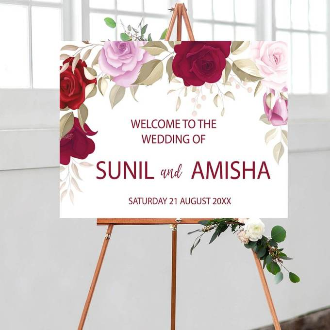 Floral Wedding Welcome Sign – 18