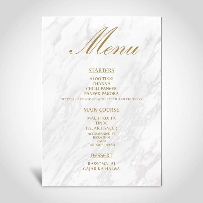 Wedding Menu Card – Marble Effect – 15