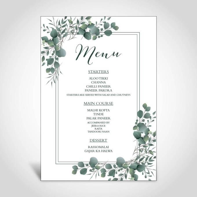 Eucalyptus Theme Wedding Menu Card – 10
