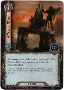 A Test of Will card from LOTR LCG