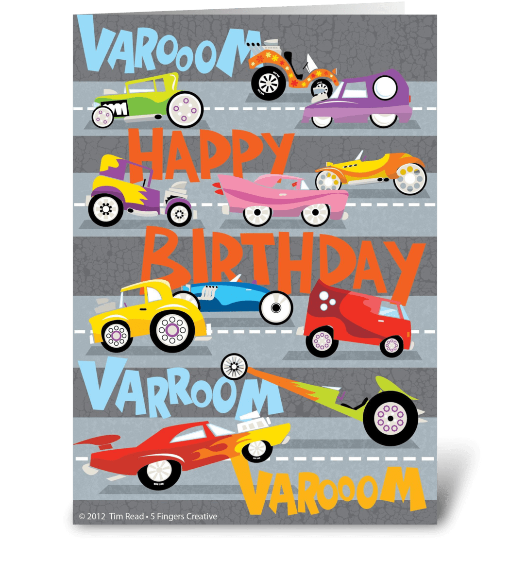 Hot Rod Birthday Send This Greeting Card Designed By Tim Read Illustration Card Gnome