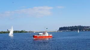 Dame Shirley cruising through Cardiff Bay