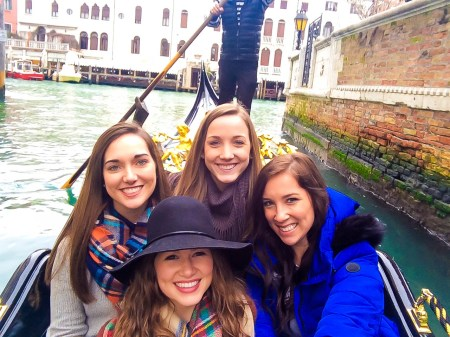 Hannah Richardson, Mary Jo Stinson, Rebecca Rogers, and Catherine Guthrie enjoyed a gondola ride during their time in Venice.