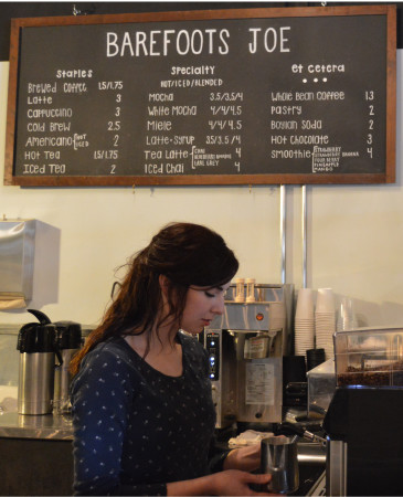 Elizabel Sartin has worked as a Barefoots Joe barista for nearly one year. | photo by Suzanne Fletcher