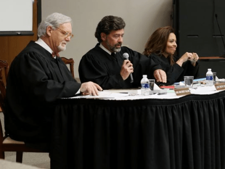 Tennessee Court of Criminal Appeals Judges John Everett Williams, Timothy Easter and Camille R. McMullen at Union University on Tuesday. | Photo by Kristi Woody