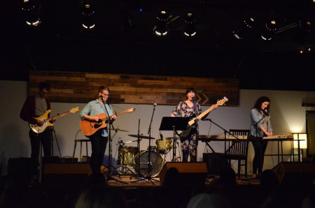 Students perform at Barefoots Joe's Open Mic. | Photo by Gretchen Foels, staff photographer