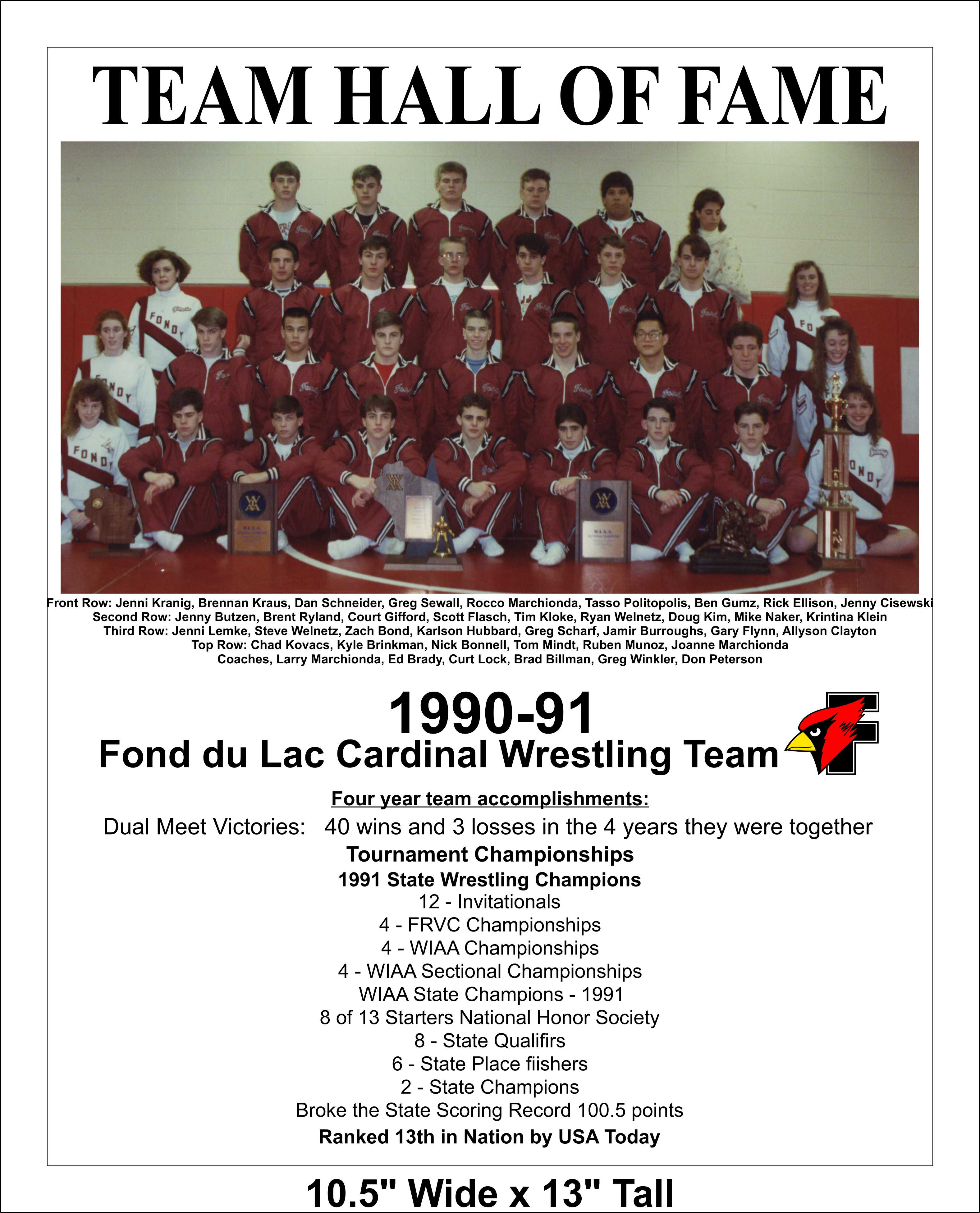 Hall Of Fame 2014 Team 1990 91 WIAA State Wrestling