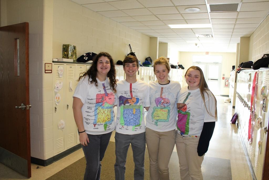 DCC Anatomy Class is Runway Ready in Digestive System Shirts ...
