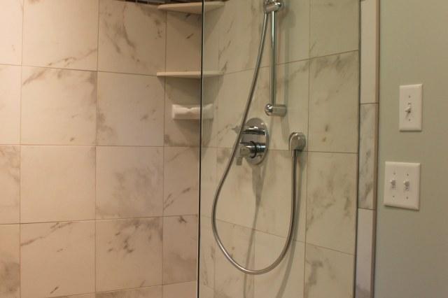 walk in shower, ceramic tile shower, remodeled bathroom