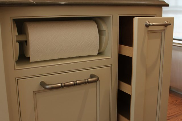 kitchen remodel, painted cabinets, cabinet pull out