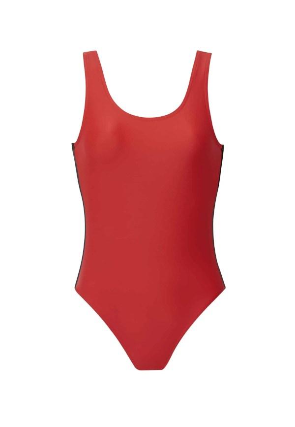 Maillot de bain CARDONU rouge ganse noire CARDO Paris piscine swimwear joli élégant confortable français monoprix