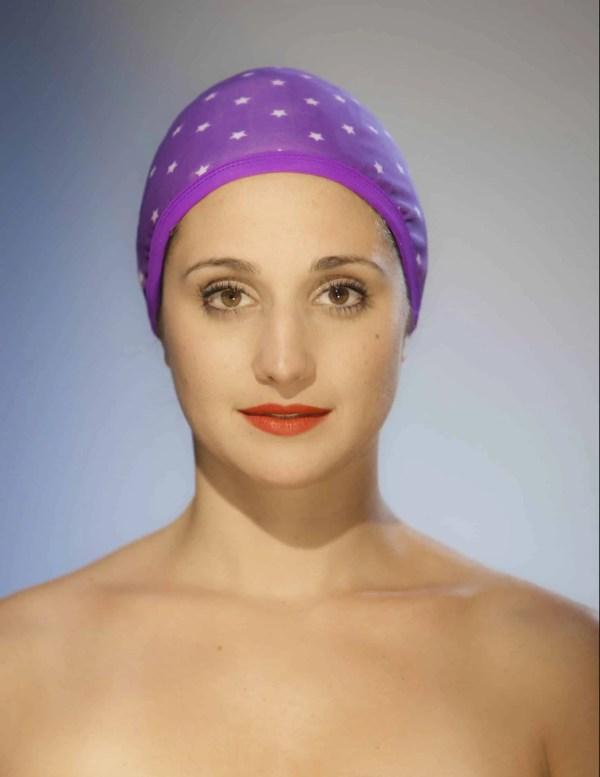 Bonnet de bain Etoiles violet CARDO Paris piscine maillot de bain déperlant joli élégant confortable français