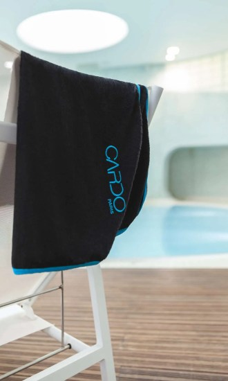 body towel bamboo black with blue braid CARDO Paris swimming pool swimwear pretty elegant comfy french