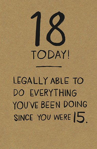 18 Today Amp Legal Birthday Card