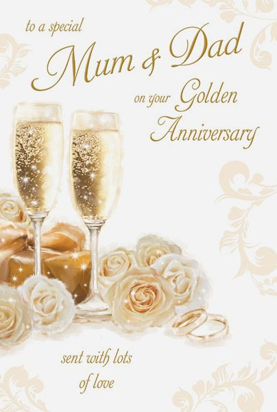 Mum Amp Dad Golden 50th Wedding Anniversary Card
