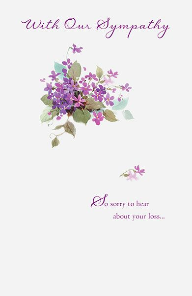 With Our Sympathy Purple Flower Card