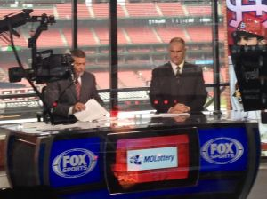 Andy Benes prepares for the postgame show on Fox Sports Midwest with co-host Jim Hayes. (Photo by Cole Claybourn)