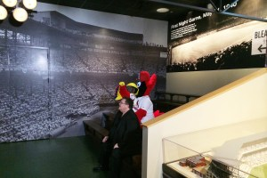 Fredbird and John Rooney share a quiet moment.