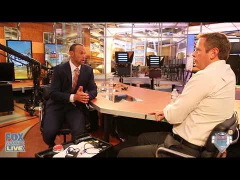 Gabe Kapler and C.J. Nitkowski on the set at the Fox Sports 1 studio