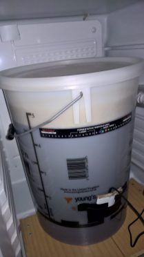 Yeast pitched and put in the brew fridge to ferment.