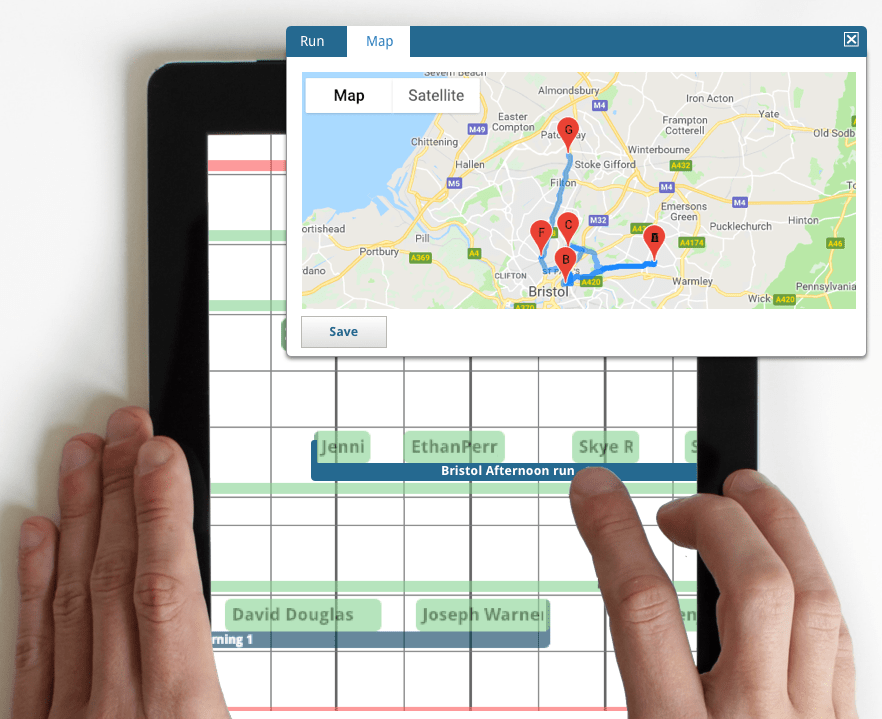 home care electronic rota and map
