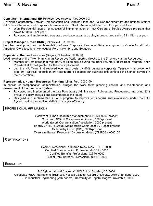 resume sample 8 international human resource executive resume