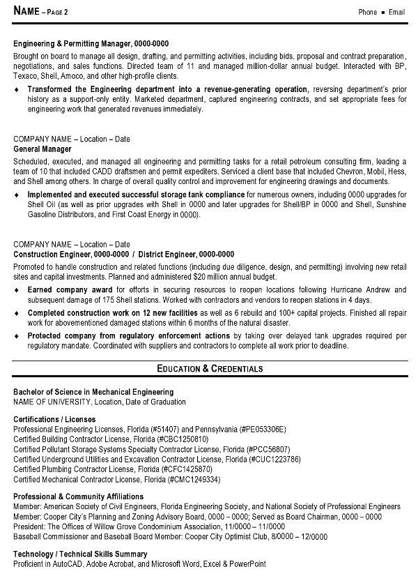 resume sample 7 engineering management resume career resumes