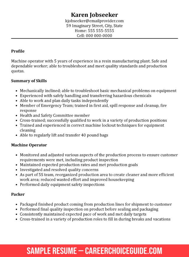 Functional Resume Example for a Manufacturing Job