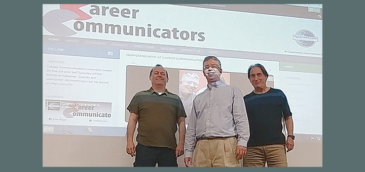 Bill Hicks, Joe Davis, Ken Sepos in front of Career Communicators website page