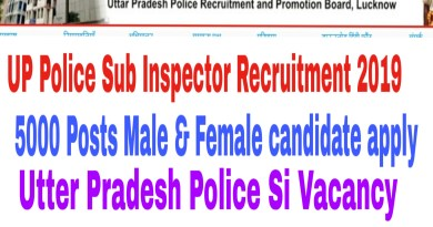 UP Police Sub Inspector Recruitment 2019 : 5000 Posts