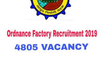 Ordnance Factory Trade Apprentice Recruitment 2019