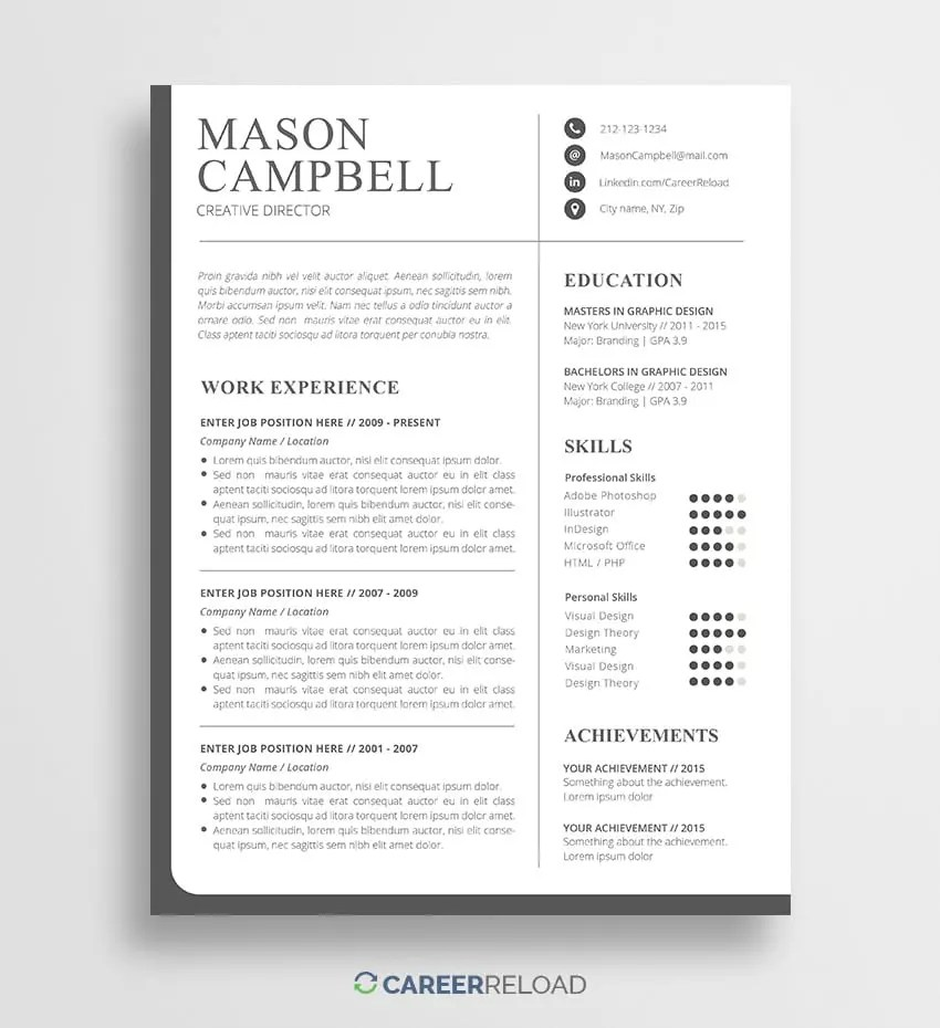 Download Free Resume Templates Free Resources For Job Seekers