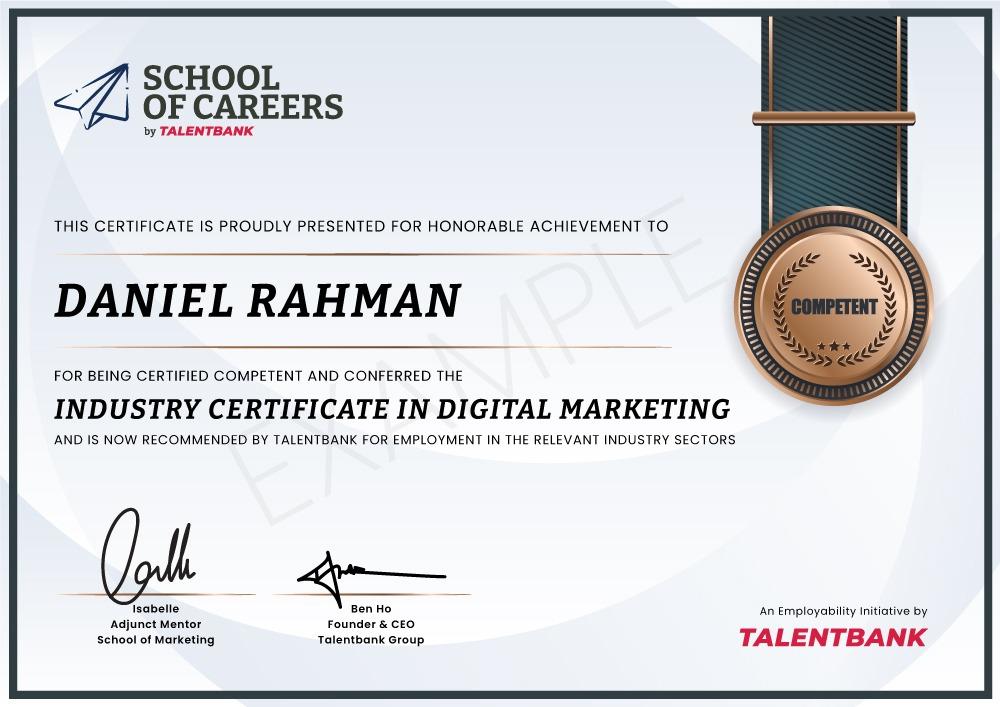Industry Certificate by Talentbank