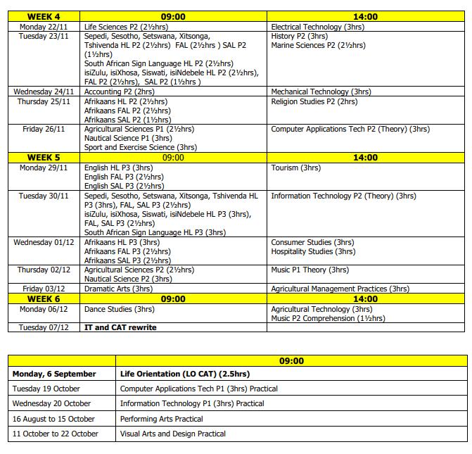National Senior Certificate (NSC) 2021 Final Matric Examination Timetable