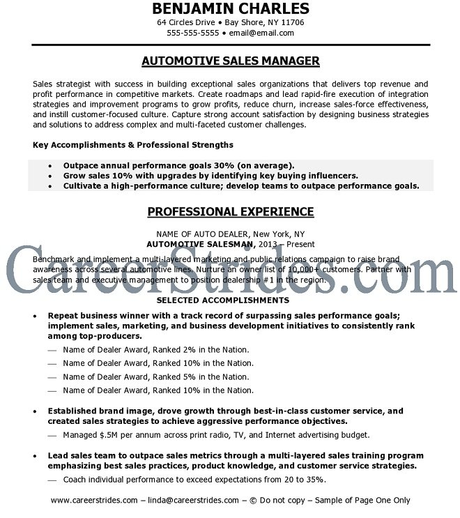 Car Sales Resume Template. resume template car sales manager ...