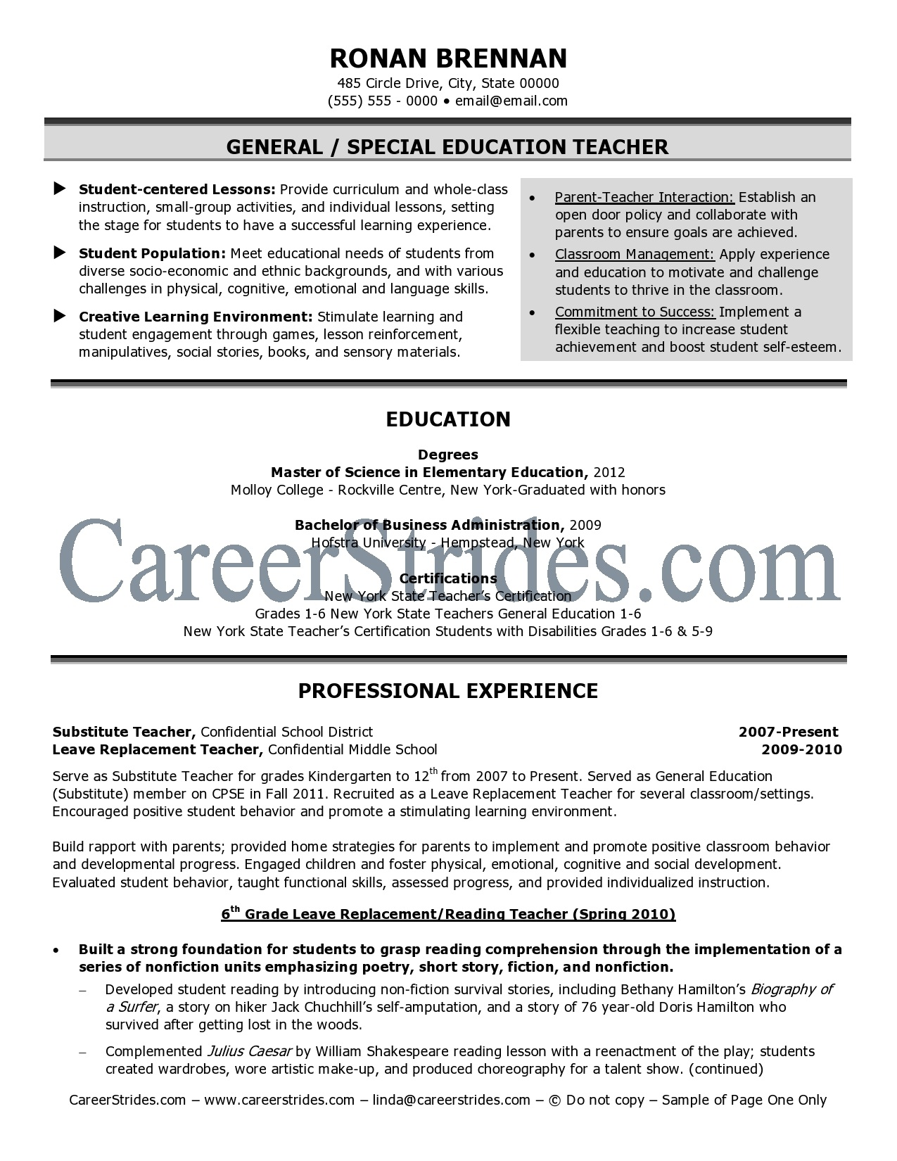 Resume General Career Objective Marketing Vice Sample Resume Good Pinterest  Resume Substitute Teacher