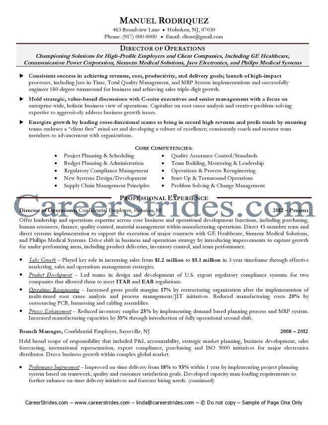 senior management resume sample example